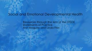 Social and Emotional Developmental Health