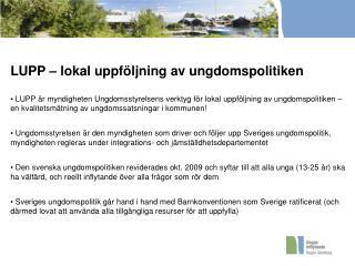 LUPP – lokal uppföljning av ungdomspolitiken