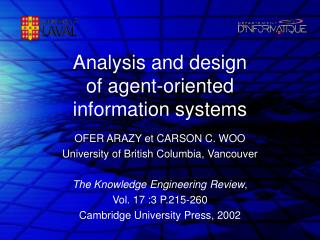 Analysis and design of agent-oriented information systems