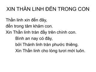 XIN THẦN LINH ĐẾN TRONG CON