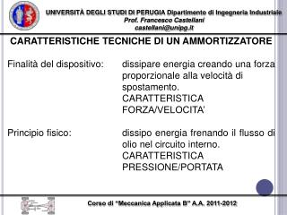 UNIVERSIT� DEGLI STUDI  DI  PERUGIA Dipartimento di Ingegneria Industriale