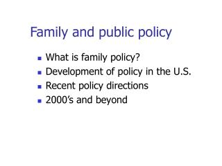 Family and public policy