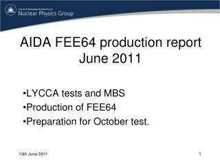AIDA FEE64 production report June 2011