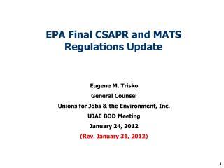 EPA Final CSAPR and MATS Regulations Update