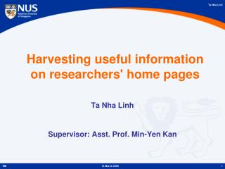 Harvesting useful information on researchers' home pages