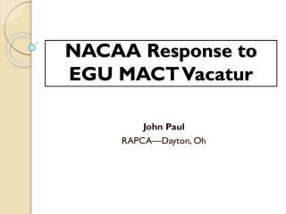 NACAA Response to EGU MACT Vacatur