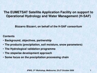 The EUMETSAT Satellite Application Facility on support to