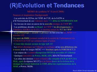 (R)Evolution et Tendances