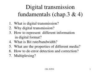 Digital transmission fundamentals (chap.3 & 4)