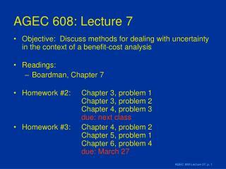 AGEC 608: Lecture 7