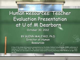 Human Resources: Teacher Evaluation Presentation  at U of M Dearborn