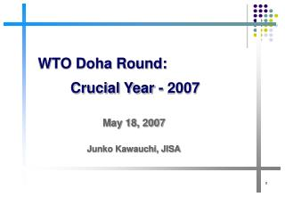 WTO Doha Round: Crucial Year - 2007