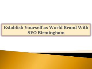 Establish Yourself as World Brand With SEO Birmingham