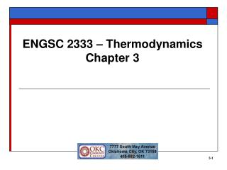 ENGSC 2333   Thermodynamics Chapter 3