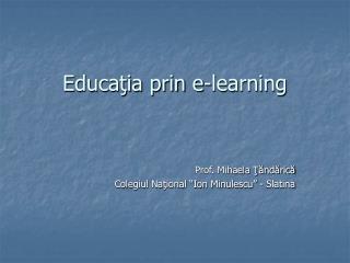 Educaţia prin e-learning