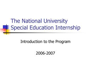 The National University Special Education Internship