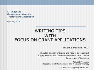 WRITING TIPS   WITH FOCUS ON GRANT APPLICATIONS