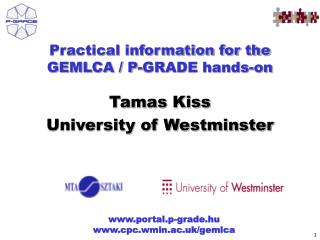 Practical information for the GEMLCA / P-GRADE hands-on