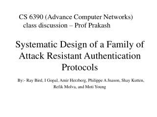 CS 6390 (Advance Computer Networks) class discussion – Prof Prakash