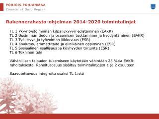 Rakennerahasto-ohjelman 2014-2020 toimintalinjat