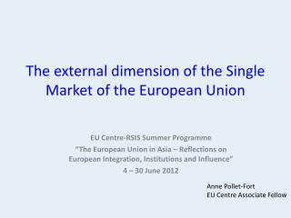 The external dimension of the Single Market of the European Union