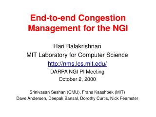 End-to-end Congestion Management for the NGI