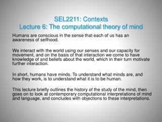 SEL2211:  Contexts Lecture 6: The  computational theory  of  mind