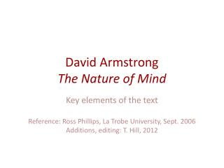 David Armstrong The Nature of Mind