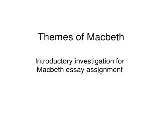 Themes of Macbeth