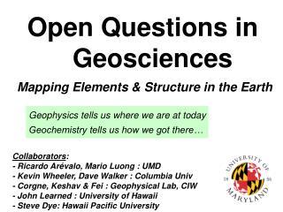 Open Questions in Geosciences