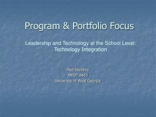 Program & Portfolio Focus
