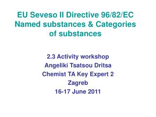 EU Seveso II Directive 96/82/EC Named substances & Categories of substances
