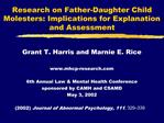 Research on Father-Daughter Child Molesters: Implications for Explanation and Assessment