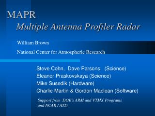 MAPR Multiple Antenna Profiler Radar