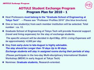 AOTULE Student Exchange Program Program Plan for 2010 - 1