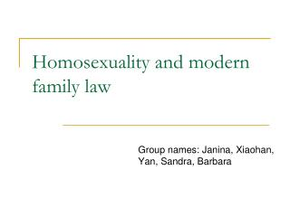 Homosexuality and modern family law