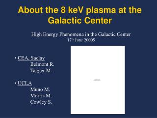About the 8 keV plasma at the Galactic Center