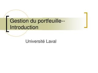 Gestion du portfeuille--Introduction