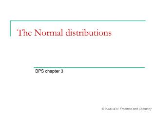 The Normal distributions