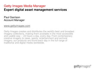 Getty Images Media Manager Expert digital asset management services