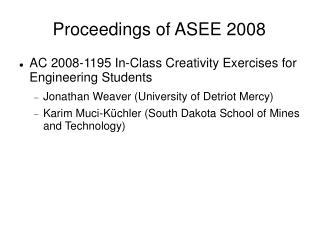 Proceedings of ASEE 2008