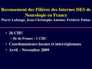 26 CHU  Ile de France : 1 CHU  Coordonnateurs locaux et interrégionaux  Avril – Novembre 2009