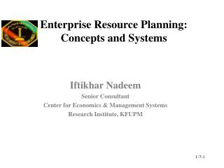 Enterprise Resource Planning: Concepts and Systems