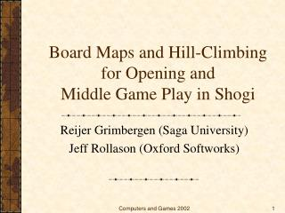 Board Maps and Hill-Climbing for Opening and  Middle Game Play in Shogi