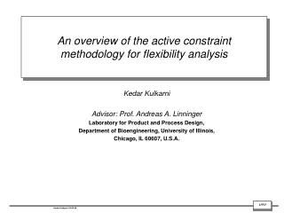 An overview of the active constraint methodology for flexibility analysis