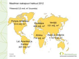 Maailman raakapuun hakkuut  2012