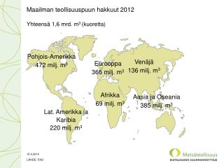 Maailman teollisuuspuun hakkuut  2012