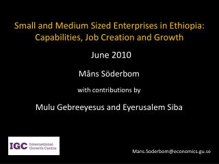 Small and Medium Sized Enterprises in Ethiopia: Capabilities, Job Creation and Growth
