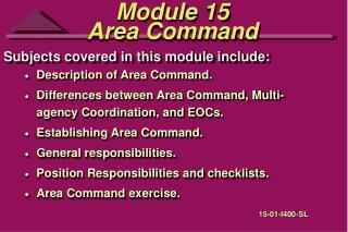Module 15 Area Command