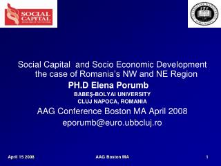 Social Capital  and Socio Economic Development the case of Romania's NW and NE Region